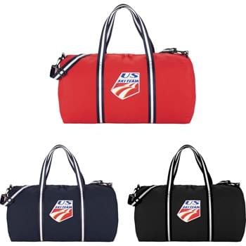 "Cotton 22"" Weekender Duffel Bag - This iconic cotton weekender style is the perfect travel bag for your next adventure. Contrast stripe cotton webbing gives this classic a fresh look. Large zippered main compartment will hold all your clothes and gear. Detachable, adjustable striped cotton shoulder strap."