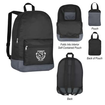Foldaway Backpack - CLOSEOUT! Please call to confirm inventory available prior to placing your order!<br />Made Of 210D Polyester Ripstop | Adjustable Shoulder Straps And Web Carrying Handle | Front Zippered Pocket | Zippered Main Compartment | Folds Into Self-Contained Pouch With Hook And Loop Closure For Convenient Storage | Spot Clean/Air Dry