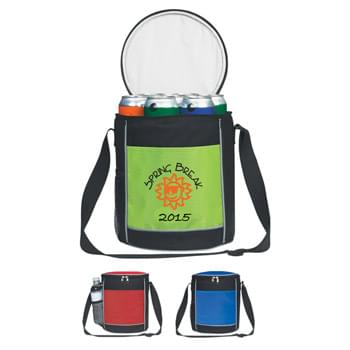 Round Kooler Bag - Made Of Combo: 600D Polyester And 420D Nylon Ripstop | PEVA Lining | Adjustable Shoulder Strap | Front Pocket | Side Mesh Pocket | Double Zipper Main Compartment | Holds Up To 10 Cans | Spot Clean/Air Dry