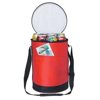 Round Kooler Bag - Made Of 70D Nylon | PEVA Lining | Adjustable Shoulder Strap, Double Zippered Closure | Large Outside Front Pocket, Mesh Pocket On Back | Holds Up To 14 Cans | Spot Clean/Air Dry