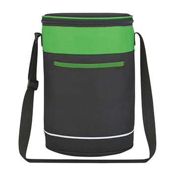 Barrel Buddy Round Kooler Bag - Made Of 600D Polyester | PEVA Lining | Adjustable Shoulder Strap, Top Zippered Closure | Large Outside Front Pocket | Holds Up To 14 Cans | Spot Clean/Air Dry
