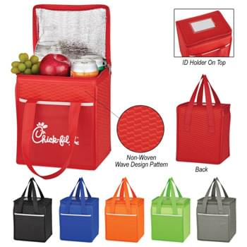 "Non-Woven Wave Design Kooler Lunch Bag - Made Of 80 Gram Non-Woven, Coated Water-Resistant Polypropylene | Foil Laminated PE Foam Insulation | Zippered Main Compartment | Large Front Pocket | ID Holder | 21"" Handles 