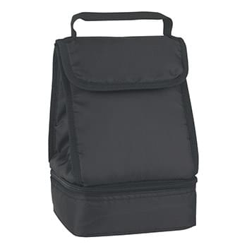 Dual Compartment Lunch Bag - Made Of 210D Polyester | PEVA Lining | Front Pocket | Two Separate Insulated Compartments | Velcro® Tab Closure | Padded Web Handle | Spot Clean/Air Dry