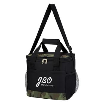 Camouflage Accent Kooler Bag - Made Of 600D Polyester | PEVA Lining | Adjustable Shoulder Strap And Web Carrying Handles | Double Zippered Main Compartment | Front Pocket | 2 Side Mesh Pockets | Holds Up To 24 Cans | Spot Clean/Air Dry