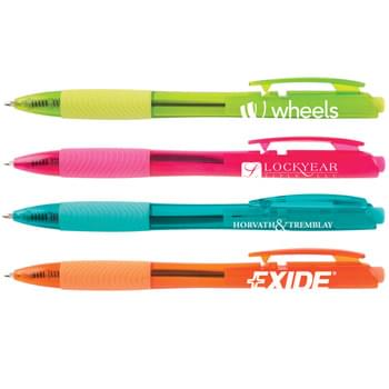 "Tryit Bright - Vibrant translucent barrels in eye-catching brights. Hourglass barrel and ribbed grip for writing comfort. Unique clip activated retraction. ""HUB"" branded clip and smooth blue writing ink."