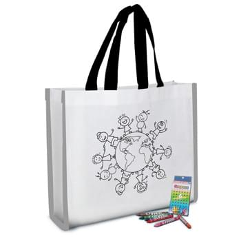"Reflective Coloring Tote Bag With Crayons - Create Your Custom Coloring Bag Design Or Choose From Our Stock Designs! | Made Of 80 Gram Non-Woven, Coated Water-Resistant Polypropylene | Made With Up To 20% Post-Industrial Recycled Material | Includes 6-Pack Of Crayons. Crayon Colors Include Blue, Brown, Green, Orange, Pink And Red | Patented Reflective Piping Accents | 3 4/5"" Gusset 