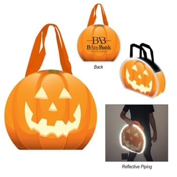 "Reflective Halloween Pumpkin Tote Bag - Made Of 80 Gram Laminated Non-Woven, Coated Water-Resistant Polypropylene | Made With Up To 20% Post-Industrial Recycled Material   | Jack-O-Lantern Printed On Front | Patented Reflective Piping Accents   | 3 1/5"" Gusset 