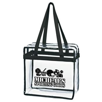 "Clear Tote With Zipper - Made Of PVC Material | 24"" Handles 