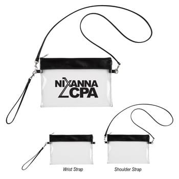 Game Day Clear Wristlet Pouch - Made Of PVC Material  | Top Zippered Closure  | Meets Prop65 Limits For Lead, Heavy Metals, And Phthalates   | Meets NFL Sizing Guidelines | Detachable Wrist Strap And Shoulder Strap  | Spot Clean/Air Dry