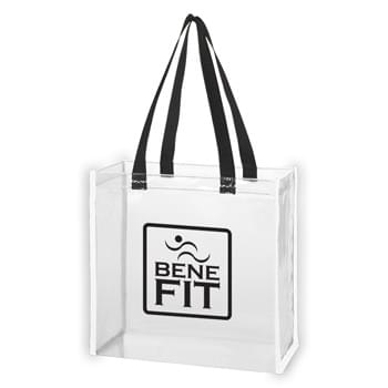 "Clear Reflective Tote Bag - Made Of PVC Material | Patented Reflective Piping | Meets CPSIA & Prop65 Limits for Lead, Heavy Metals, and Phthalates | Meets NFL Sizing Guidelines | 6"" Gusset 