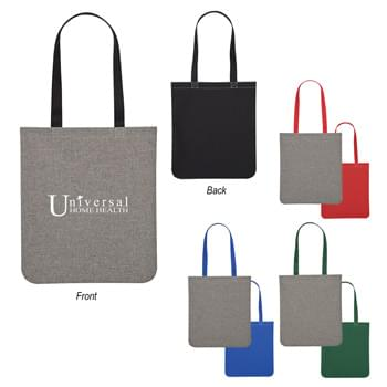 "Heathered Two-Tone Brochure Tote Bag - Made Of 600D Polyester | 23 1/2"" Handles 