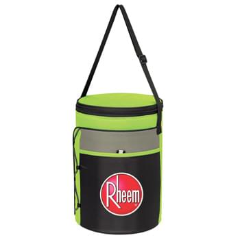 Cylindrical Insulated Kooler Bag - Made Of 600D Polyester | PEVA Lining | Adjustable Shoulder Strap | Zippered Main Compartment | Front Pocket With Hook And Loop Closure | Bungee Cord Storage On Side | Holds Up To 24 Cans | Spot Clean/Air Dry