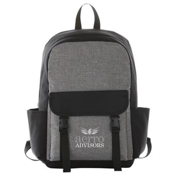 "Buckle 15"" Computer Backpack - Open main compartment with 15"" laptop sleeve. Front pocket with double buckle closure. Padded shoulder straps and grab handle."
