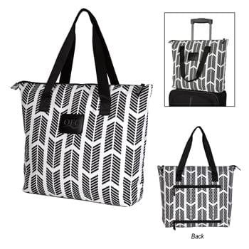 "Chevron Chic Tote Bag - Made Of Combo: 300D Polyester And 190T Polyester Padded Lining   | Zippered Main Compartment   |  Inside Zippered Pocket And Padded Laptop Pocket  |  Double Zippered Back Functions As A Pocket Or Trolley Sleeve   | Front Leatherette Patch   | 5"" Bottom Gusset  
