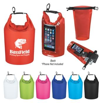 Waterproof Dry Bag With Window - Made Of 210T Ripstop Polyester With PVC Backing | Use Your Touch Screen Device Without Having To Remove From Inside Pocket | 2.5 Liter | Roll Top Closure With Clip For Snapping Onto Belts Or Other Bags | Floats If Dropped In The Water | Perfect For Keeping Your Contents Dry And Safe | Spot Clean/Air Dry