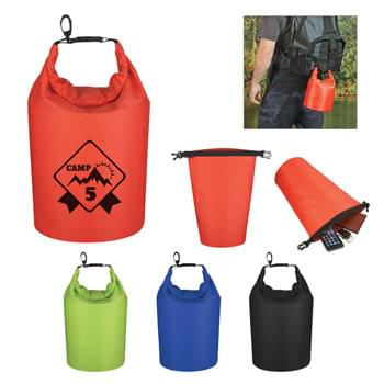 Waterproof Dry Bag - Made Of 210T Ripstop Polyester With PVC Backing | 5 Liter | Roll Top Closure With Clip For Snapping Onto Belts Or Other Bags | Floats If Dropped In The Water | Perfect For Keeping Your Contents Dry And Safe | Spot Clean/Air Dry