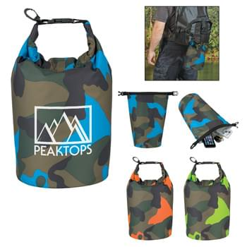 Camo Waterproof Dry Bag - Made Of 210T Ripstop Polyester With PVC Backing   |  5 Liter   | Roll Top Closure With Clip For Snapping Onto Belts Or Other Bags   |  Floats If Dropped In The Water   | Perfect For Keeping Your Contents Dry And Safe  |  Spot Clean/Air Dry