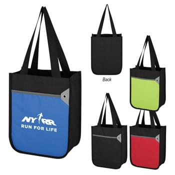"Mini Tote Bag - Made Of 600D Polyester | Front Pocket | Grommet Accent | 5 ¼"" Gusset 