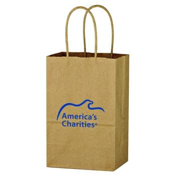 "Kraft Paper Brown Shopping Bag - 5-1/4"" x 8-1/4"" - Made Of Kraft Paper 