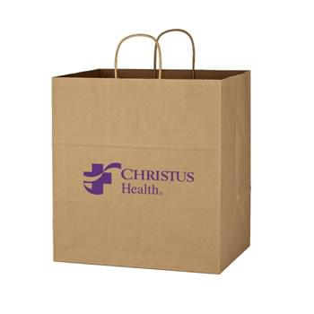 "Kraft Paper Brown Shopping Bag - 14"" x 15"" - Made Of Kraft Paper 
