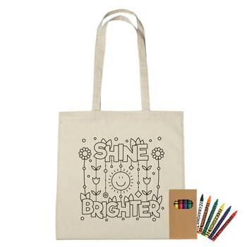 "100% Cotton Coloring Tote Bag With Crayons - Create Your Custom Coloring Bag Design Or Choose From Our Stock Designs! | Made Of 4 Oz. 100% Natural Cotton | 30"" Handles 
