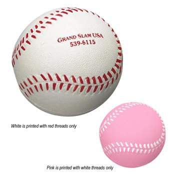 Baseball Shape Stress Reliever - With Printed Thread Color As Shown Only