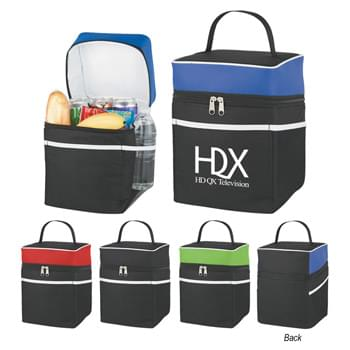 Deluxe Lunch Bag Kooler - Made of 600D Polycanvas Material | PEVA Lining | Web Carrying Handle | Large Front Pocket | 2 Side Mesh Pockets | Zippered Main Compartment | Spot Clean/Air Dry