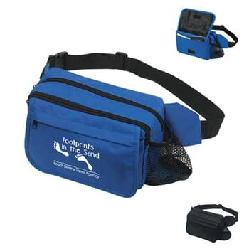 "Fanny Pack - Made Of 600D Polyester | Side Mesh Pocket For Water Bottle | Two Inside Pockets | Three Outside Zippered Pockets | Inside Organizer Pocket Holds Tickets, Keys And Passport | 46"" Maximum Belt Size"