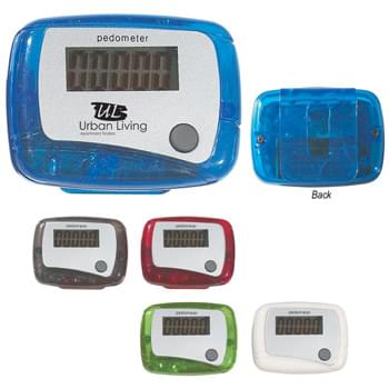 Pedometer - CLOSEOUT! Please call to confirm inventory available prior to placing your order!<br />Single Function Easy To Read Display | Records From 1 To 99,999 Steps | Molded Clip On Back Belt Attachment