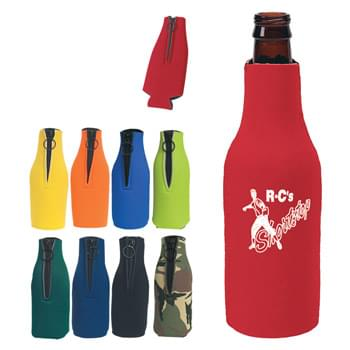 Bottle Buddy - 12 OZ. Long-Necked Bottle Insulator | Made Of Laminated Open Cell Foam | Zippered Closure With O-Ring Pull | Folds Flat For Pocket Or Purse Storage