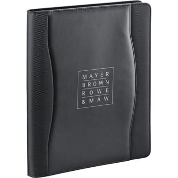 "Wave Zippered Padfolio - Zippered closure. Interior organizer includes removable smartphone pouch, expandable file pocket, removable jotter, business card pockets, clear ID window, and built-in solar calculator. Includes 8.5"" x 11"" writing pad."