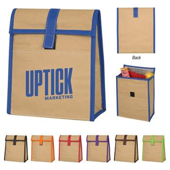 Woven Paper Lunch Bag - CLOSEOUT! Please call to confirm inventory available prior to placing your order!<br />Made Of 95 GSM Eco-Woven Paper | Foil Laminated PE Foam Insulation | Front Pocket | Hook And Loop Tab Closure | Spot Clean/Air Dry