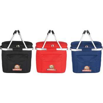 "Cape May Picnic Cooler - Zippered main compartment. Open front pocket with Velcro flap closure. Double aluminum handles with EVA padding for extra carrying comfort. Cooler can also detach from aluminum framing. 7.5"" handle drop height. Insulated PEVA lining."
