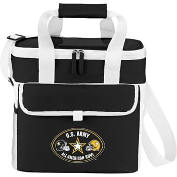 Game Day Sport Cooler - As part of  exclusive Game Day Collection, this cooler is ideal for barbecues, tailgates, and other sporting and outdoor events. Inspired by sports jerseys and offered in your team's colors. Zippered main compartment holds up to 18 cans. Open front pocket with Velcro flap closure. Side mesh pocket. Dual carry handles with wrap. Adjustable shoulder strap. Insulated PEVA lining.