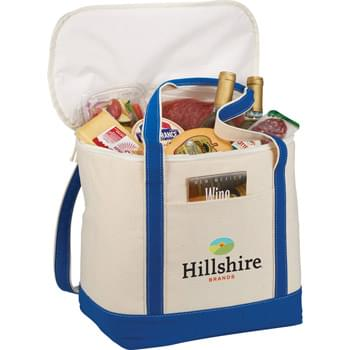 30 Can Cotton Cooler - 12 oz. Cotton canvas cooler with insulated PEVA lining. Front pocket for additional snacks.