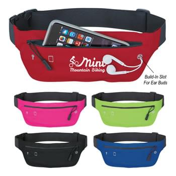 "Lycra Running Belt Fanny Pack - Large Zippered Front Pocket   | Inside Key Pocket   | Built-In Slot For Ear Buds   | Adjustable Elastic Waist Strap | 41"" Maximum Belt Size"