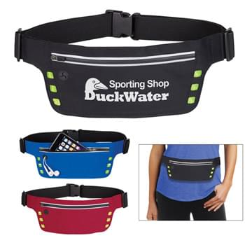 "Running Belt With Safety Strip And Lights - Reflective Zippered Closure | 6 Extra Bright LED Lights Under Reflective Squares | Push Button On Tab For Fast Blink, Slow Blink, Solid On, Then Off | Button Cell Battery Included Under Hook & Loop Closure Tab | Built-In Slot For Earbuds | Adjustable Elastic Waist Strap | 60"" Maximum Belt Size 