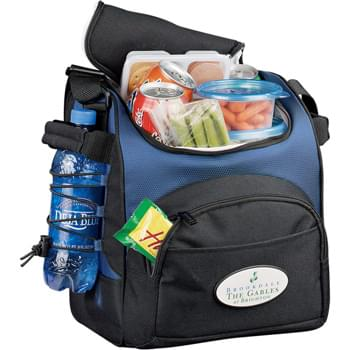 Fresco Sport Cooler - Zippered main compartment holds up to 20 cans. Large front pocket and side shock cords for extra storage. Side carry handles for easy portability. Adjustable shoulder strap. Insulated PEVA lining.