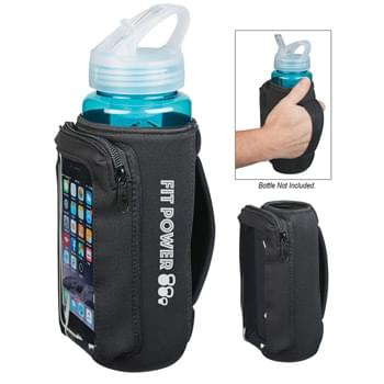 Neoprene Bottle Kooler With Phone Holder - Made From High Quality Closed Cell Neoprene | Features A Phone Holder With Zippered Closure And Display Window | Easy Carry Strap