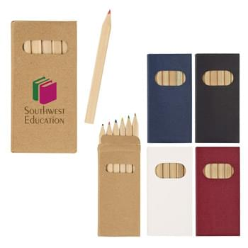 6-Piece Colored Pencil Set - Pencil Colors Include Black, Blue, Brown, Green, Red and Yellow