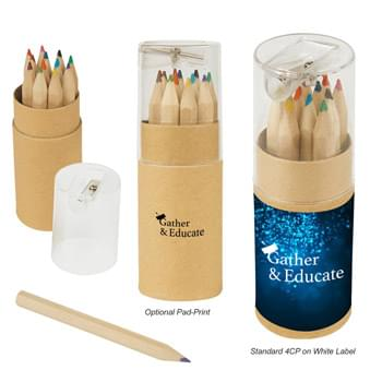 12-Piece Colored Pencil Set In Tube With Sharpener - Pencil Colors Include Black, Blue, Brown, Dark Green, Light Blue, Light Green, Maroon, Orange, Pink, Purple, Red and Yellow | Pencil Sharpener Included On Top Of The Lid