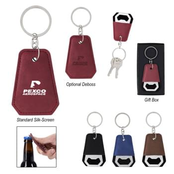 Leatherette Bottle Opener Key Ring - Split Ring Attachment