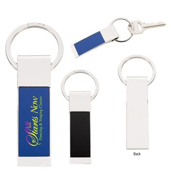 Two-Tone Rectangle Key Tag - Split Ring Attachment