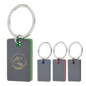 Color Block Mirrored Key Tag - Split Ring Attachment