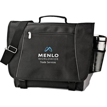 "Verona Compu-Messenger - Large zippered main compartments can hold up to 15"" laptop, accessories and documents. Zippered rear pocket for quick-access storage. Side mesh pocket fits beverage bottles. Additional storage on flap of zippered pocket.  Business organizer hides securely under flap. Detachable, adjustable shoulder strap."