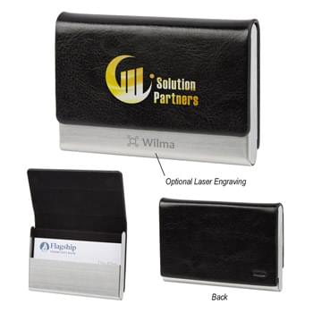 Executive Business Card Holder - Stainless Steel And Polyurethane Material Case | Leatherette Texture | Felt Interior