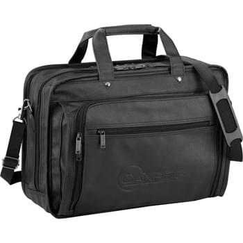"DuraHyde Compu-Attach - Business Case with zip-down front organizer for all of your work elements. Accordion file dividers for organization. Padded computer pouch (holds a 17"" laptop). Detachable, adjustable shoulder strap."
