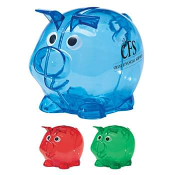 Mini Plastic Piggy Bank - Removable Bottom Plug For Coin Retrieval