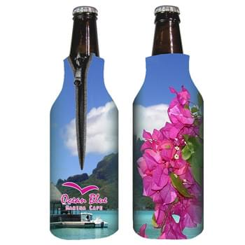 "Zippered Bottle Coolie - Made Of 1/8"" High Density Open Cell Foam 