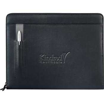 "Links Zippered Padfolio - Zippered closure. External pen slot. Interior organizer includes built-in solar calculator, ID pocket, zippered accessory pouch, file storage, 4 business card pockets,  hidden organization pocket, and 2 elastic storage loops. Includes 8.5"" x 11"" writing pad."